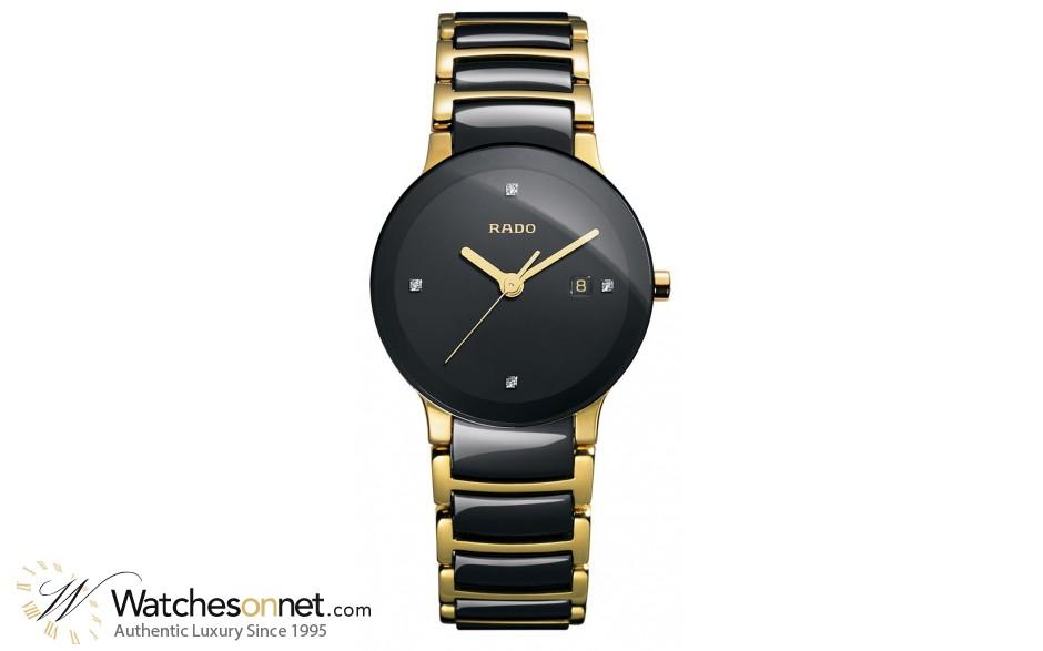 Rado Centrix  Quartz Women's Watch, PVD Black Steel, Black & Diamonds Dial, R30930712