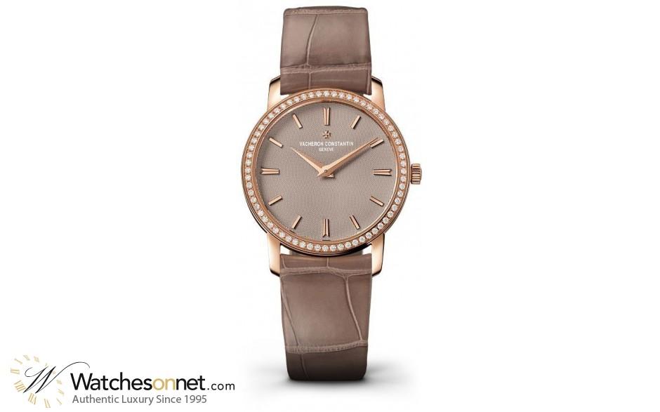 Vacheron Constantin Patrimony Traditionnelle  Quartz Women's Watch, 18K Rose Gold, Brown Dial, 25558/000R-9759