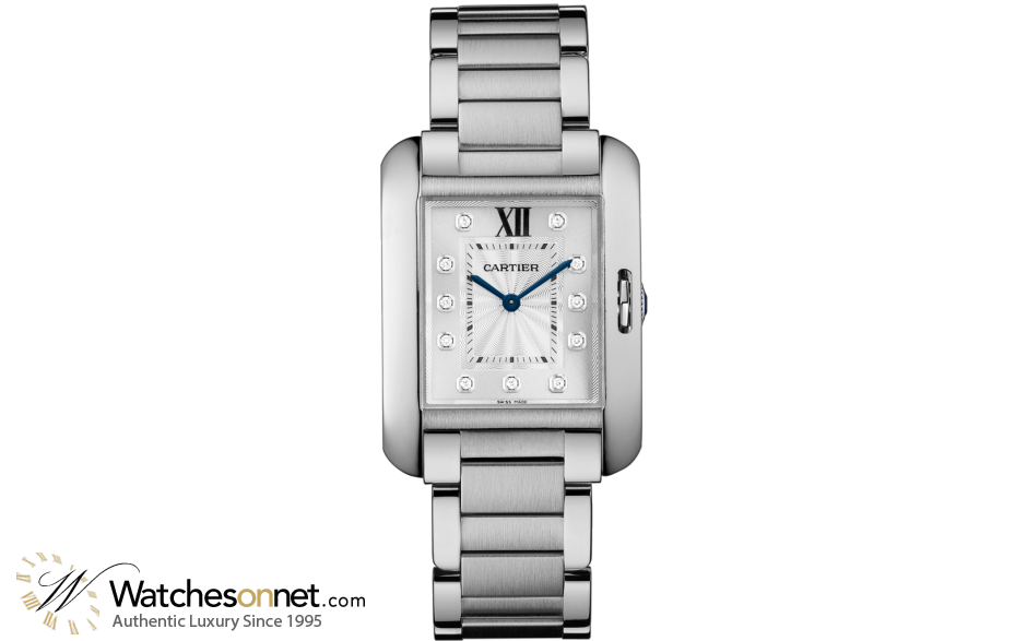 Cartier Tank Anglaise  Automatic Women's Watch, Stainless Steel, Silver Dial, W4TA0004