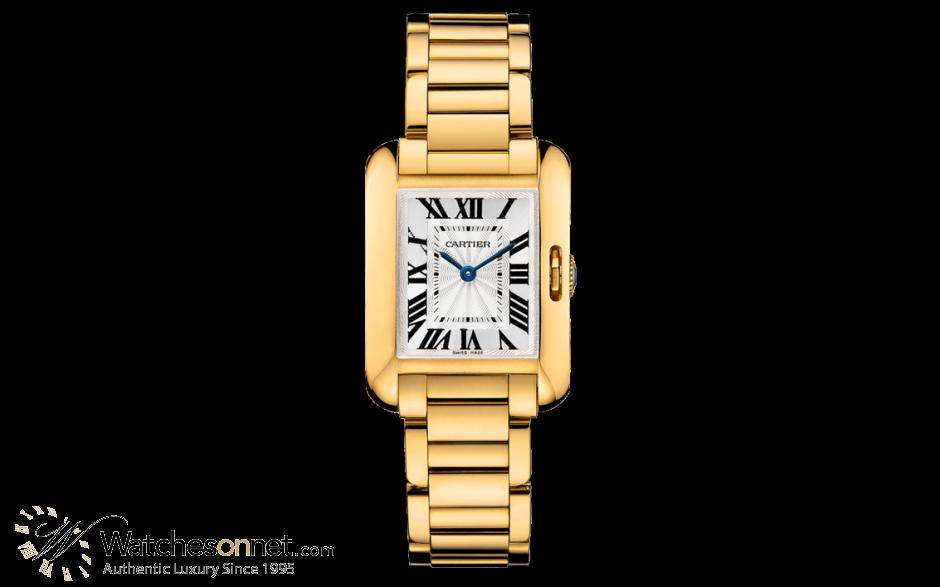 Cartier Tank Anglaise  Quartz Women's Watch, 18K Yellow Gold, Silver Dial, W5310014
