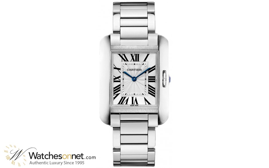 Cartier Tank Anglaise  Quartz Women's Watch, Stainless Steel, Silver Dial, W5310044