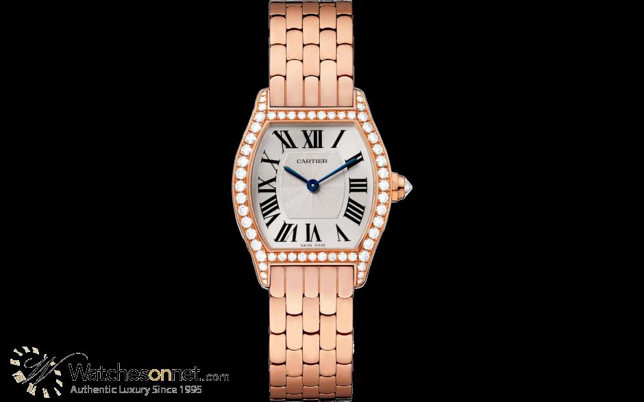 Cartier Tortue  Automatic Women's Watch, 18K Rose Gold, Silver Dial, WA501010