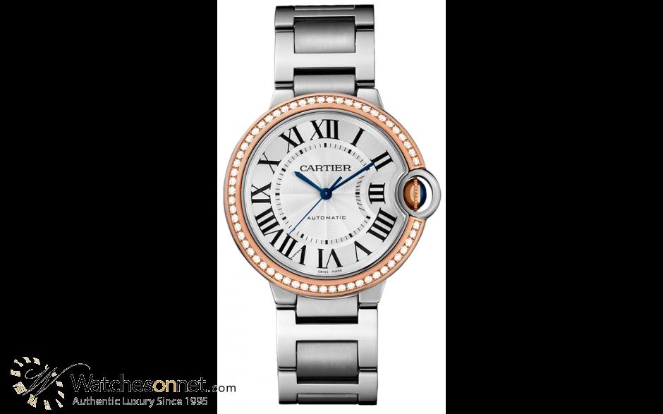 Cartier Ballon Bleu  Automatic Women's Watch, Steel & 18K Rose Gold, Silver Dial, WE902081