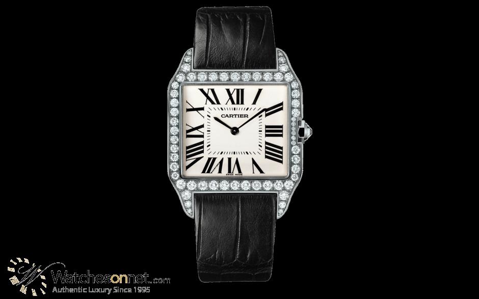 Cartier Santos Dumont  Automatic Men's Watch, 18K White Gold, Silver Dial, WH100651