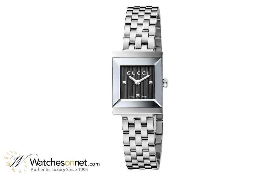 Gucci G-Frame  Quartz Women's Watch, Stainless Steel, Black Dial, YA128403