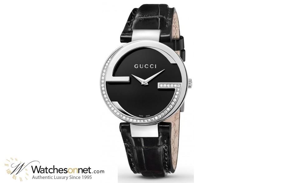 Gucci Interlocking  Quartz Women's Watch, Stainless Steel, Black Dial, YA133305