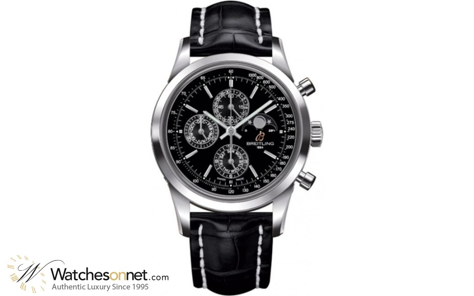 Breitling Transocean Chronograph 1461  Chronograph Automatic Men's Watch, Stainless Steel, Black Dial, A1931012.BB68.744P
