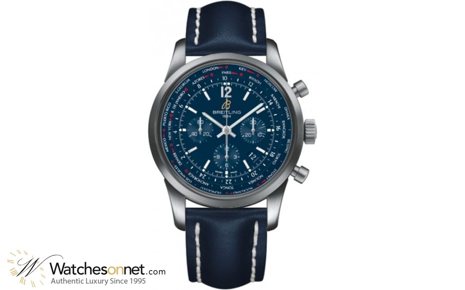 Breitling Transocean Chronograph Unitime  Chronograph Automatic Men's Watch, Stainless Steel, Blue Dial, AB0510U9.C879.101X