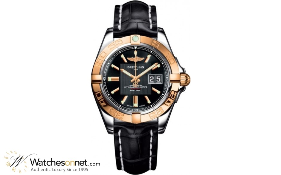 Breitling Galactic 41  Automatic Men's Watch, Steel & 18K Rose Gold, Black Dial, C49350L2.BA09.729P