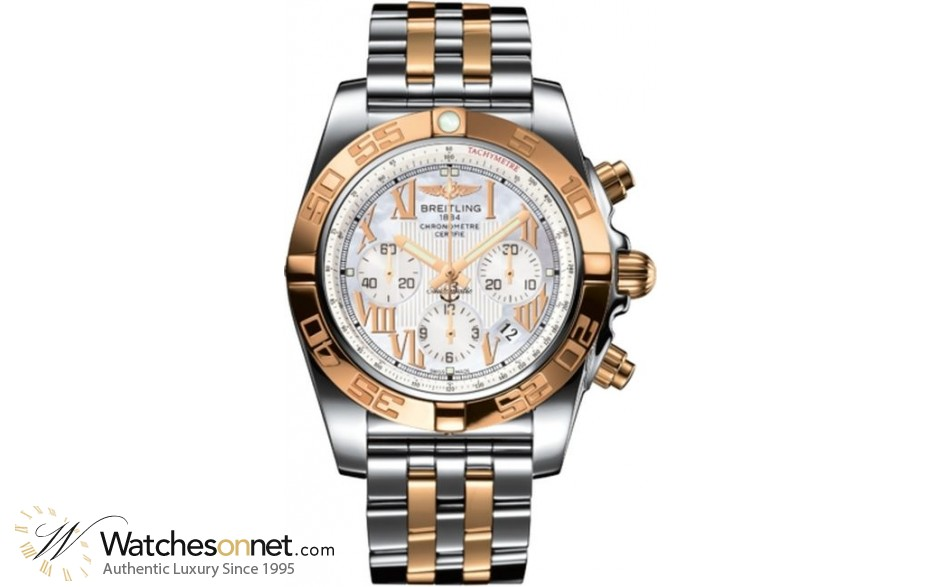 Breitling Chronomat 44  Chronograph Automatic Men's Watch, Steel & 18K Rose Gold, Mother Of Pearl Dial, CB011012.A693.375C