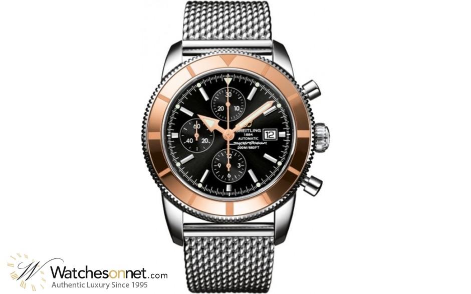 Breitling Superocean Heritage Chronographe 46  Chronograph Automatic Men's Watch, Steel & 18K Rose Gold, Black Dial, U1332012.B908.152A