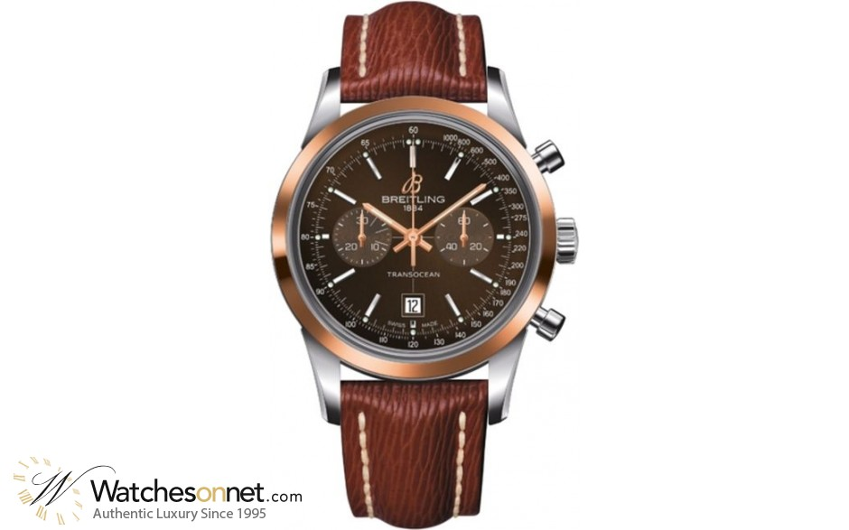Breitling Transocean Chronograph 38  Automatic Men's Watch, Steel & 18K Rose Gold, Brown Dial, U4131012.Q600.221X