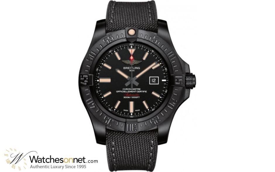 Breitling Avenger Blackbird  Automatic Men's Watch, Titanium, Black Dial, V1731010.BD12.100W