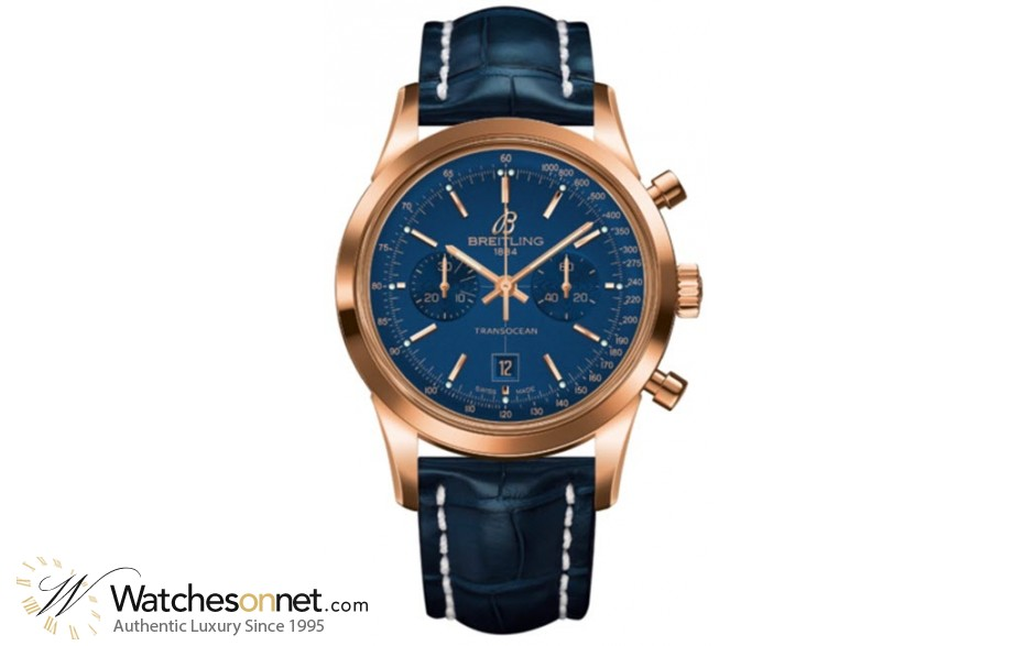 Breitling Transocean Chronograph 38  Automatic Men's Watch, 18K Rose Gold, Blue Dial, R4131012.C863.718P
