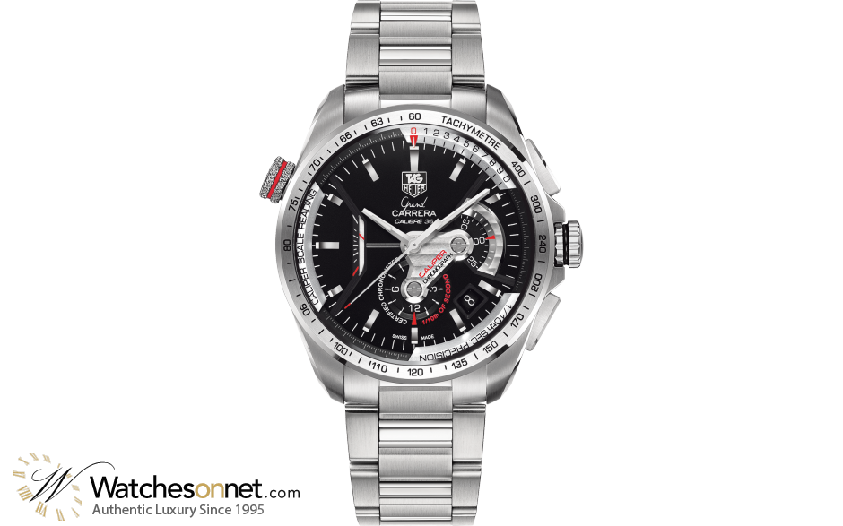 Tag Heuer Grand Carrera  Chronograph Automatic Men's Watch, Stainless Steel, Black Dial, CAV5115.BA0902
