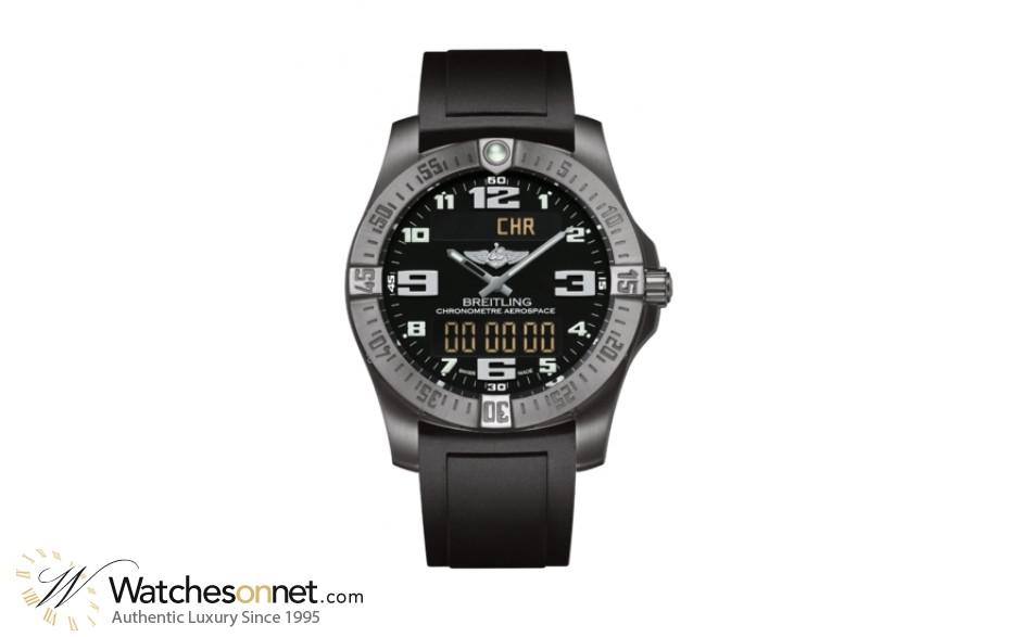 Breitling Aerospace Evo  Chronograph LCD Display Quartz Men's Watch, Titanium, Black Dial, E7936310.BC27.131S