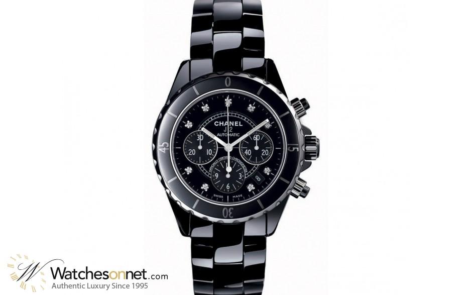 Chanel J12 Jewelry  Chronograph Automatic Women's Watch, Ceramic, Black & Diamonds Dial, H2419