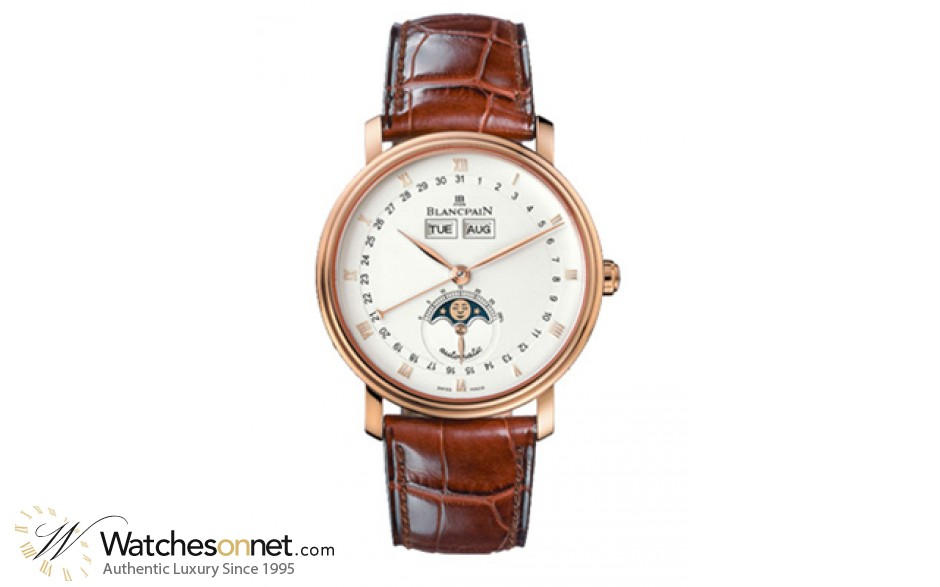 Blancpain Villeret  Automatic Men's Watch, 18K Rose Gold, White Dial, 6263-3642a-55