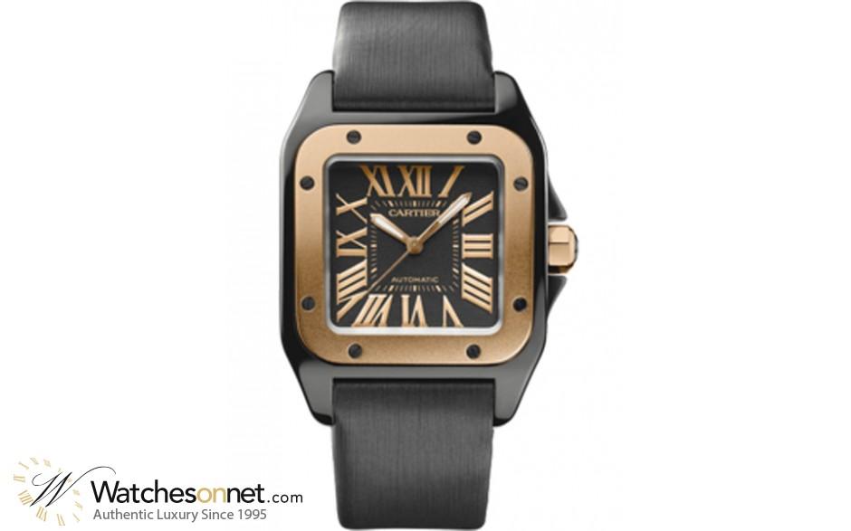 Cartier Santos 100  Automatic Unisex Watch, Titanium, Black Dial, W2020007