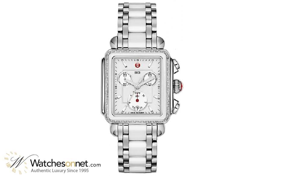 Michele Deco  Chronograph Quartz Women's Watch, Stainless Steel, White Dial, MWW06P000188