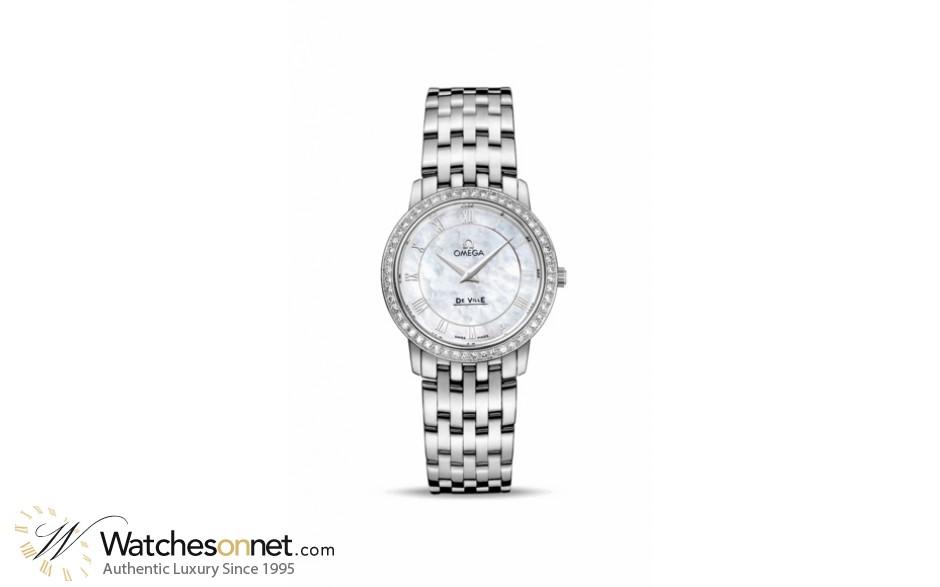 Omega De Ville  Quartz Women's Watch, Stainless Steel, White Mother Of Pearl Dial, 413.15.27.60.05.001