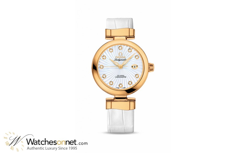Omega De Ville Ladymatic  Automatic Women's Watch, 18K Yellow Gold, Mother Of Pearl & Diamonds Dial, 425.63.34.20.55.002