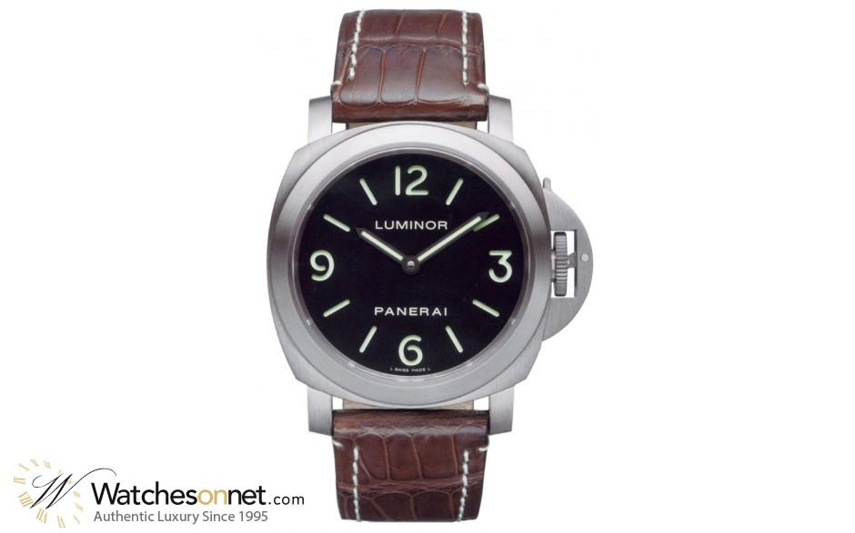 Panerai Luminor Base  Mechanical Men's Watch, Titanium, Black Dial, PAM00176