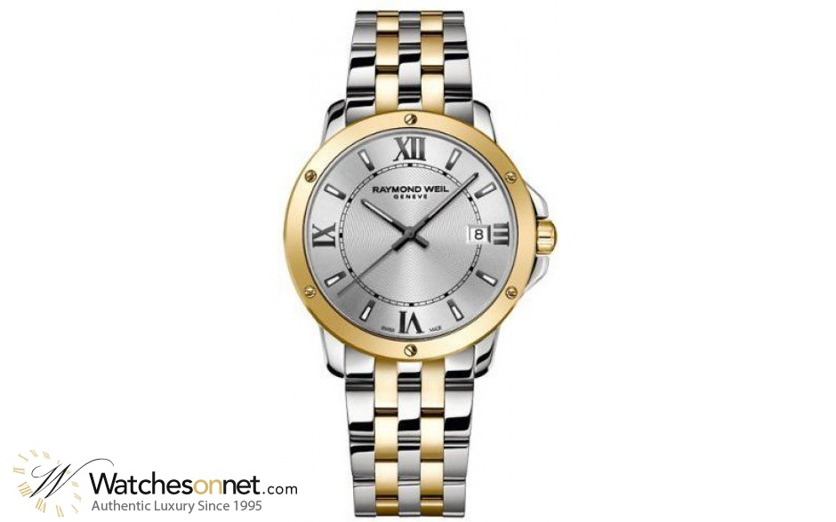 Raymond Weil Tango  Quartz Men's Watch, Stainless Steel & Yellow Gold, Silver Dial, 5591-STP-00657