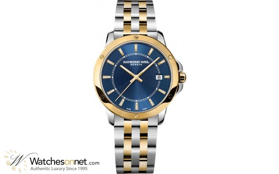 Raymond Weil Tango  Quartz Men's Watch, Steel & Yellow Gold Plated, Blue Dial, 5591-STP-50001