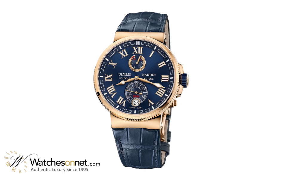 Ulysse Nardin Marine Chronometer  Automatic Men's Watch, 18K Rose Gold, Blue Dial, 1186-126/43
