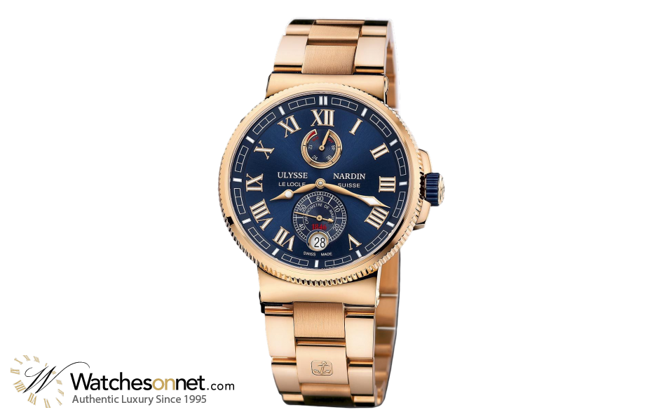 Ulysse Nardin Marine Chronometer  Automatic Men's Watch, 18K Rose Gold, Blue Dial, 1186-126-8M/43