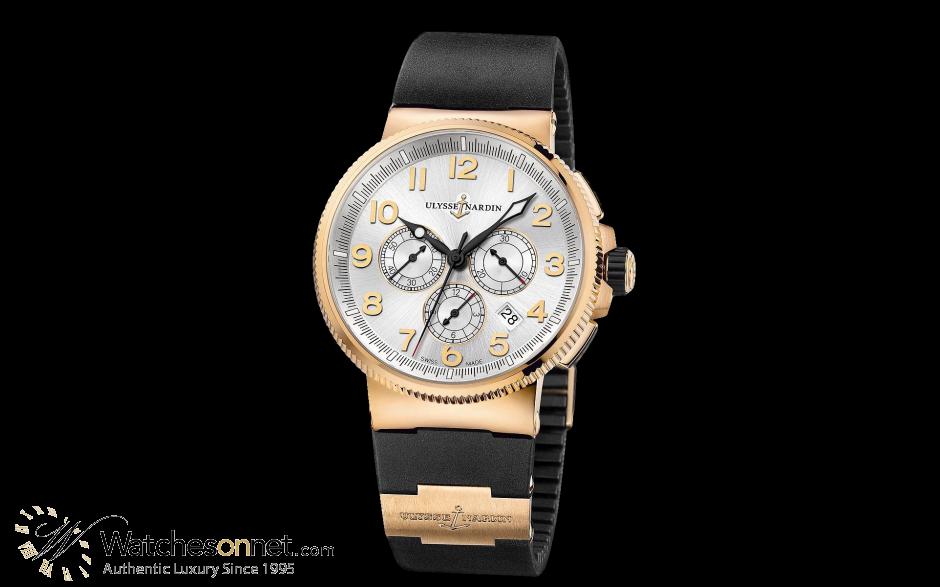 Ulysse Nardin Marine Chronometer  Automatic Men's Watch, 18K Rose Gold, Silver Dial, 1506-150-3/61