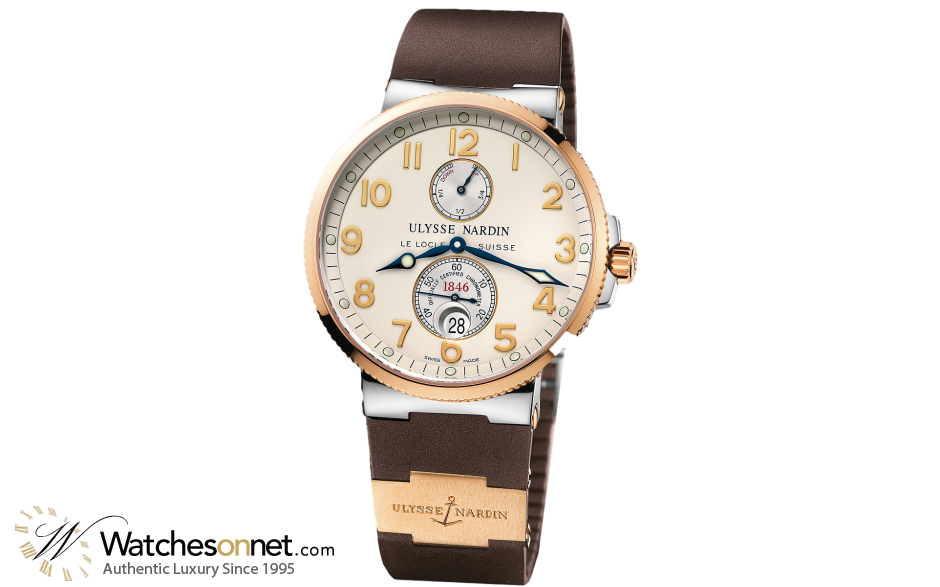 Ulysse Nardin Marine Chronometer  Automatic Men's Watch, Steel & 18K Rose Gold, White Dial, 265-66-3/60