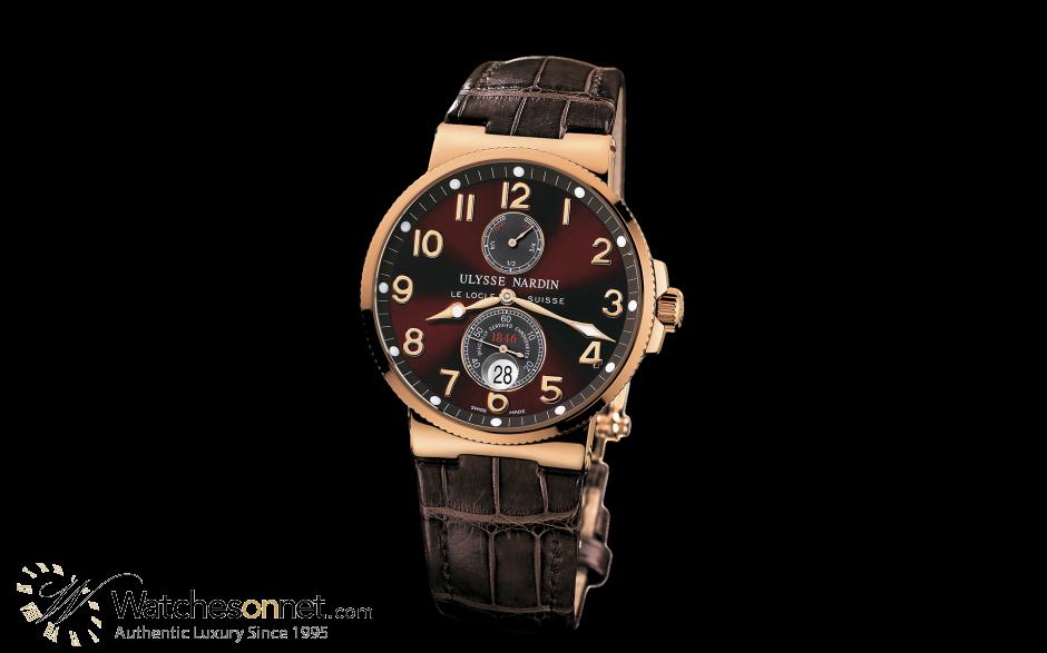 Ulysse Nardin Marine Chronometer  Automatic Men's Watch, 18K Rose Gold, Brown Dial, 266-66/625