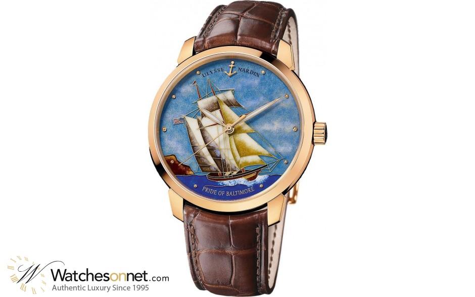 Ulysse Nardin Classical  Automatic Men's Watch, 18K Rose Gold, Custom Dial, 8156-111-2/BALT