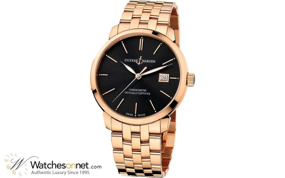Ulysse Nardin Classical  Automatic Men's Watch, 18K Rose Gold, Black Dial, 8156-111-8/92
