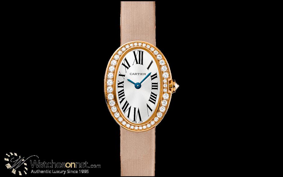 Cartier Baignoire  Quartz Women's Watch, 18K White Gold, Silver Dial, WB520028