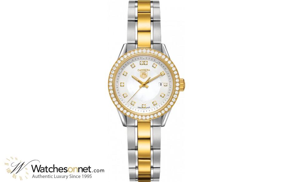 Tag Heuer Carrera  Quartz Women's Watch, 18K Yellow Gold, White Dial, WV1451.BD0797