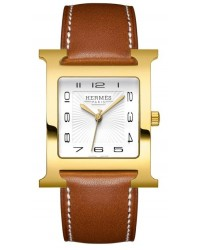 Hermes H Hour  Quartz Women's Watch, Gold Tone, White Dial, 036785WW00