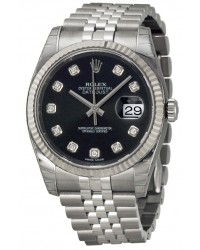 Rolex DateJust 36  Automatic Women's Watch, Steel & 18K White Gold, Black Dial, 116234-BLK-DIA-J