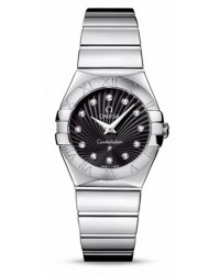 Omega Constellation  Quartz Women's Watch, Stainless Steel, Black & Diamonds Dial, 123.10.27.60.51.002
