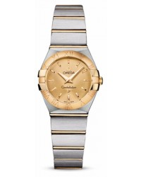 Omega Constellation  Quartz Small Women's Watch, 18K Yellow Gold, Champagne Dial, 123.20.24.60.08.001