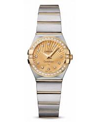 Omega Constellation  Quartz Small Women's Watch, 18K Yellow Gold, Champagne & Diamonds Dial, 123.25.24.60.58.001