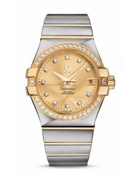 Omega Constellation  Quartz Men's Watch, 18K Yellow Gold, Gold Dial, 123.25.35.20.58.001