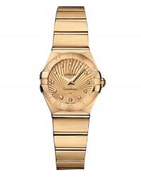 Omega Constellation  Quartz Small Women's Watch, 18K Yellow Gold, Champagne & Diamonds Dial, 123.50.24.60.58.001