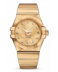 Omega Constellation  Automatic Men's Watch, 18K Yellow Gold, Champagne & Diamonds Dial, 123.50.35.20.58.001