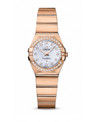 Omega Constellation  Quartz Small Women's Watch, 18K Rose Gold, Mother Of Pearl & Diamonds Dial, 123.55.24.60.55.001