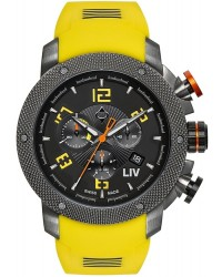 LIV Genesis X1  Chronograph Quartz Men's Watch, Stainless Steel Gray IP, Black Dial, 1240.45.13.SRB400