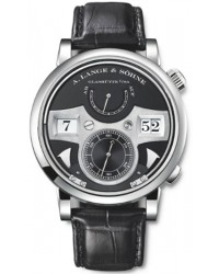 A. Lange & Sohne Lange Zeitwerk  Manual Winding Men's Watch, 18K White Gold, Black Dial, 145.029