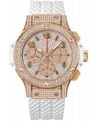 Hublot Big Bang 41mm  Chronograph Automatic Men's Watch, 18K Rose Gold, Diamond Pave Dial, 341.PE.9010.RW.1704
